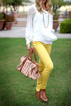 yellow bdg skinnies from urban outfitters & zara blouse.