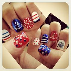 Fourth of July nautical nails