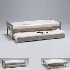 Lit gigogne 90x190cm bois   2 sommiers   tiroir   pieds escamotables PARME