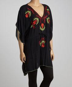 Another great find on #zulily! Black & Red Floral Waist-Tie Tunic - Plus #zulilyfinds