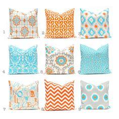 Orange Pillow Covers Turquoise Pillows Chevron by CompanyTwentySix