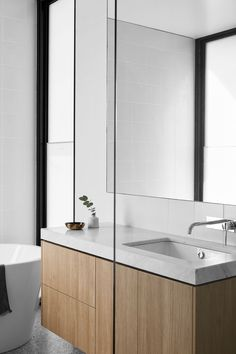 Tom Robertson Architects have designed the 'Two Pavilions House', a modern home that sits on property along Victorian coastline of Australia. Wood Bathroom, Modern Bathroom, Master Bathrooms, Minimalist Bathroom, White Bathroom, Bathroom Ideas, Clad Home, Wood Vanity, Modern Interior Design