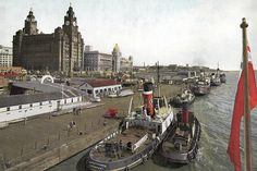 """From a """"Gant View Card"""" of the period, so lots to see by clicking on """"All Sizes""""! Liverpool Waterfront, Liverpool Town, Liverpool Docks, Liverpool History, Liverpool England, London History, British History, Southport, Historical Pictures"""