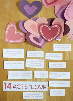 Valentines, 14 acts of love, neat idea, pretty hearts with fun ways to count down to valentines day, Display on straws as a bouquet, or in a pretty glass jar.