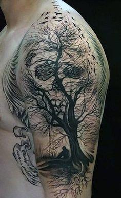 Tree of Life and Death Half Sleeve Tattoo