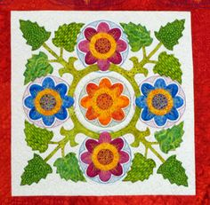 Fiesta Mexico quilt pattern detail. Applique is so hard for me to do but this is beautiful. CR