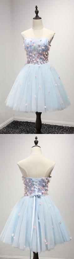 Floral blue short party dress