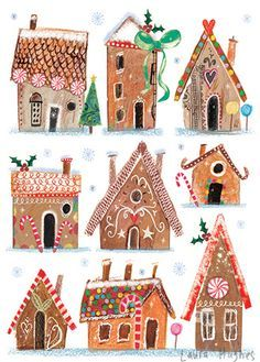 Gingerbread Drawings - With Children - Christmas Illustration - Water, Christmas Gingerbread, Noel Christmas, Winter Christmas, Gingerbread Houses, Winter Art Projects, Christmas Projects, Holiday Crafts, House Illustration, Christmas Illustration