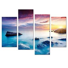 Framed Colorful Seascape Sunset Nature Wall Art Prints Canvas Picture Home Decor #VisualArt #Impressionism