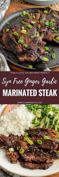 Simple Ginger and Garlic Marinated Steak with a Soy Glaze - a perfectly delicious and Quick Syn Free Dinner. Gluten free, dairy free, paleo, slimming world and weight watchers friendly. SYNS…More Slimming World Beef Recipes, Slimming World Dinners, Slimming Eats, Steak Recipes, New Recipes, Cooking Recipes, Healthy Recipes, Skinny Recipes, Healthy Dinners