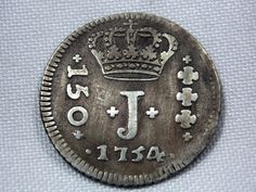 Moeda de prata - RARIDADE - Brasil Imperio - 150 Réis - 1754B - Amato P203 - MBC+ - confira as foto