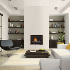 Interesting Direct Vent Fireplace For Your Family Room Decor Ideas: Modern Direct Vent Fireplace Design With Dark Lounge Chairs And White Shag Rug For Modern Family Room Design Contemporary Fireplace, Home Fireplace, Room Design, Gas Fireplace, Home, Family Room, Minimalist Living Room Design, Home Decor, Room