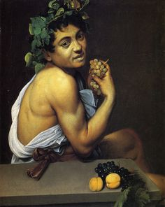 Caravaggio - Self Portrait as Bacchus (also known as Sick Bacchus or Satyr with Grapes). Tags: bacchus, dionysus, dionysos,