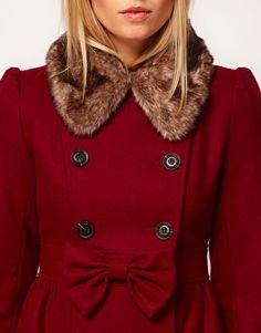 ASOS PETITE Exclusive Bow Detail Fur Collar Coat