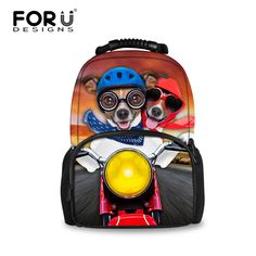 FORUDESIGNS Funny Dog riding Motorcycle Pattern School Bags for Teenagers  Girls College Students Bookbag Youth Women Backpack 6cf32163a2