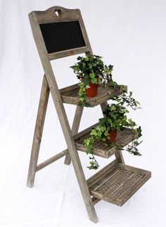 Flower stage 12061 made from wood with Chalk board H-110cm Flower stand Plant stage - DanDiBo-Ambiente