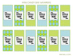Mini Candy Bar Wrappers at a Mustache Bash  #mustachebash #littleman #freeprintables