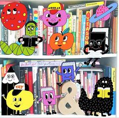 My shelves are busy today!  Having too much fun with @anorakmag #Happystickers app illustrated by the great #jurglindenberger #studioanorak #illustration #shelfie #shelfiesaturday #bookstagram