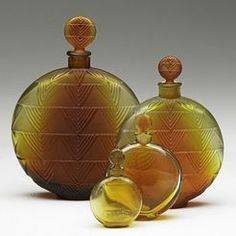 Perfume Bottle (4); Lalique Glass, Vers le Jour, Amber & Frosted, 5 inch.