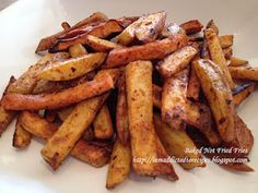 Baked sweet potato/potato fries with a kick...must try this