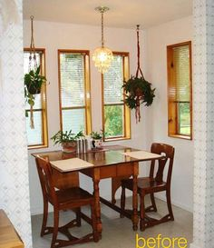 We love kitchen renovations and before and afters — they're so satisfying, don't you think? Take a look at this breakfast nook transformation; it's particularly dramatic! It started with this, and then...
