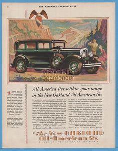 1929 Oakland Motor Car Co All American Six Sedan Pontiac MI General Motors Ad