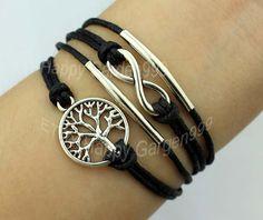 wishing tree bracelet infinity karma bracelet wish bracelet antique silvery charm cute bracelet personalized jewelry -J639