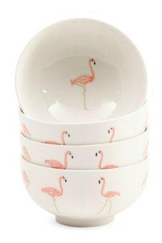 4 PK Stoneware Flamingo Bowls: