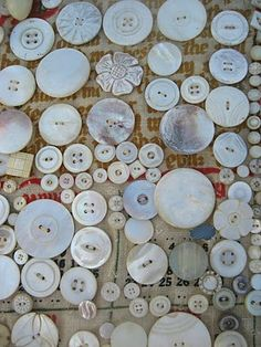 *Collections of vintage mother of pearl buttons...these are a real find at A flea market