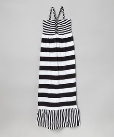 Love this Black  White Stripe Maxi Dress - Girls by Longstreet on #zulily! #zulilyfinds