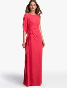 HALSTON HERITAGE Asymmetric Georgette Gown Coral  Was: 1255.00$ Now: 799.00$