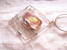 Pink gold and silver necklace pink glass and gold by LaTerraCanta