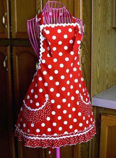 Womens Full Apron Retro Style Ruffled Apron Red by MontanaTwirls, $35.00