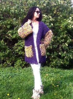 Купить Кардиган ТАИНСТВЕННЫЙ ЧАРОИТ - сиреневый, однотонный, вязаное пальто, крупная вязка, Осеннее пальто