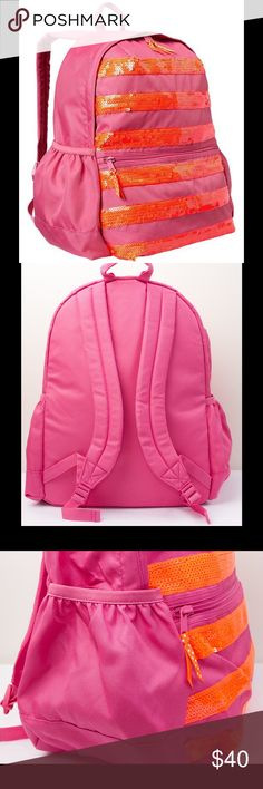 """Gap Kids Girl School Backpack Brand new Gap Kids girl backpack. This is a perfect size backpack for a young elementary student. Cute and functional. Very well made with sequin details. Approx. measurements: 12""""W x 16""""H x 7""""D.  - Body: 100% nylon.  - Lining: 100% polyester.  - Roomy interior, fits standard school books and binders.  - Adjustable padded straps.  - Zip compartment with contrast polka dot ribbon ties.  - Elasticized side pockets.  - Sequin striped detailing at front.  - Interior…"""