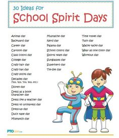 Spirit days are a great way to build a community feeling in the classroom! My grade 6 teacher Ms. L always had us all get so into spirit days and it made our class so close. I hope to do the same for my future class too. School Week, School Days, Spirit Day Ideas, Spirit Week Themes, Spirit Weeks, Beginning Of School, Middle School, Starting School, School Spirit Days