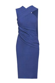 Jersey Dress with Shoulder Drape in Navy  This sleeveless jersey cocktail dress with its free-flowing shoulder drape, ruched waist and side zip will have you feeling like a modern day muse. Pair with patent heels for a truly iconic look.  https://www.paisie.com/collections/new-in/products/jersey-dress-with-shoulder-drape-and-ruched-waist