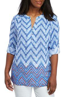 ffe017f3ca4 Kim Rogers® Plus Size Three-Quarter Sleeve Chevron Top