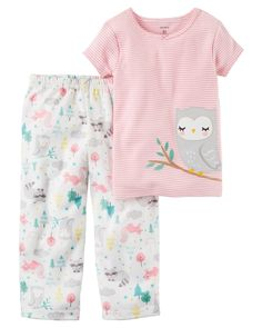 Carter's Toddler Girls' Cotton & Jersey PJs, Owl, Pink, set Ribbed neckline Tacked satin bow Yarn-dyed stripes Appliqué owl No-pinch elastic waistband Allover forest animal print. Baby Girl Pajamas, Cute Pajamas, Carters Baby Girl, Girls Pajamas, Toddler Girl Outfits, Baby & Toddler Clothing, Cute Baby Clothes, Kids Outfits, Toddler Girls