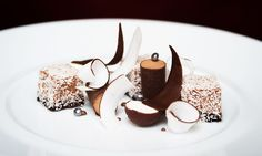 Chocolate and coconut by pastry chef Joana Thöny Montbabut of Le Restaurant in Paris, France.