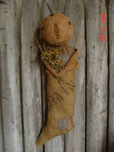 Primitive Folk Art Early Style Pumpkin Doll in Stocking PDF E-Pattern Sweetpeas Primitives by SweetpeasPrimitives on Etsy https://www.etsy.com/listing/219966323/primitive-folk-art-early-style-pumpkin