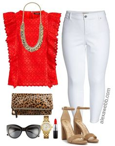 Straight Size to Plus Size - Red Top - Plus Size Outfit Idea - Plus Size Fashion for Women - alexawebb.com #alexawebb #plussize