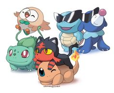 bulbasaur, rowlet, charmander, litten, squirtle y popplio