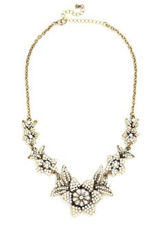 Brilliant Blooms Necklace - White, Solid, Flower, Luxe, Better, Gold, Rhinestones, Special Occasion, Cocktail, 40s