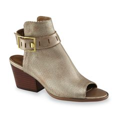 Stay sleek and stylish in these women's Talullah <strong>peep-toe booties by Nicole</strong>. Featuring metallic synthetic leather with fine crosshatch detailing, these ankle boots lend your feet fabulous texture. An ankle strap with a goldtone buckle keeps the open back design secure, and the block heel wraps things up with a classic stacked look.