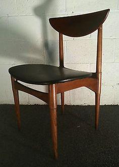mid century modern chair VINTAGE WALNUT TEAK dining chair vinyl danish wegner