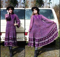 Boho INDIAN COTTON Sheer Gauze Dress Purple by ANNAKARINASCLOSET