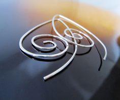 EcoFriendly Earrings. Modern Teardrop Swirl in Argentium Sterling Silver. Hammered Wire Earrings. by phoenixmtncreations