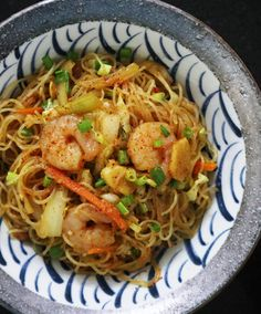 """Singapore"" Noodles (Curry Bee Hoon) Fried Rice Noodles, Stir Fry Rice, Shrimp And Vegetables, How To Cook Shrimp, Asian Cooking, Vegetable Dishes, Singapore, Curry, Kitchens"