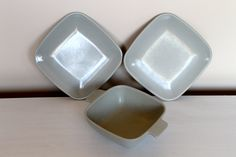 Lot of three pieces of vintage 1949 Arrowhead by Brookpark Melmac two bread plates one handled bowl. $4.00, via Etsy.
